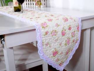 Country Pink Rose Crochet Lace Cotton Quilted Table Runner 178CM