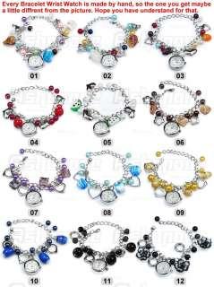 Lady Jewelry Beads Flower Retro Bracelet Cuff Wrist Watch Gift