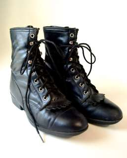 black leather western boots lace up the front no tag size is marked