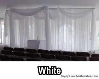 Valance for Draping Wedding Backdrop, Party Drape Decor   WHITE