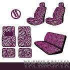15pc Pink Zebra Car Seat Steering Wheel Covers Mats Set
